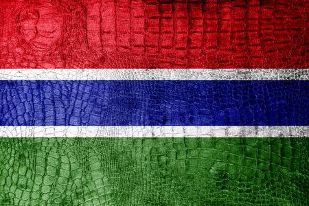 gambia: Gambia Flag painted on luxury crocodile texture Stock Photo