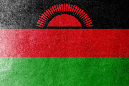 plain postcards: Malawi Flag painted on leather texture
