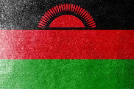 malawi: Malawi Flag painted on leather texture