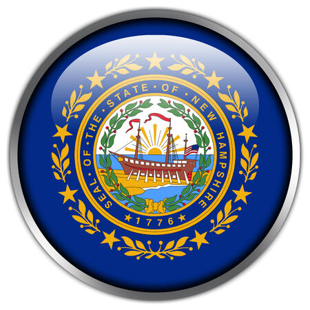 New Hampshire State Flag glossy button photo