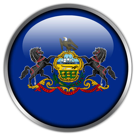 Pennsylvania State Flag glossy button photo