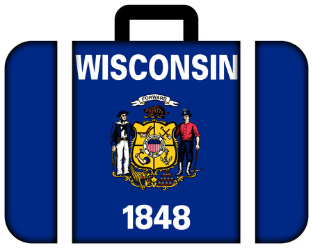 wisconsin state: Suitcase with Wisconsin State Flag
