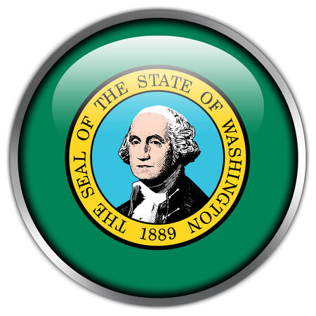 Washington State Flag glossy button photo