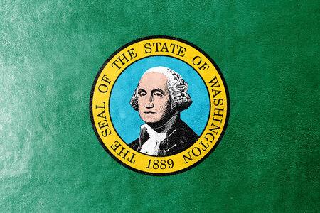 george washington: Washington State Flag painted on leather texture