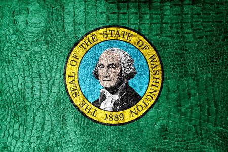 u s: Washington State Flag painted on luxury crocodile texture Stock Photo