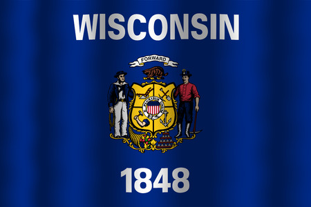 state of wisconsin: Waving Wisconsin State Flag