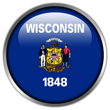 Wisconsin State Flag glossy button photo