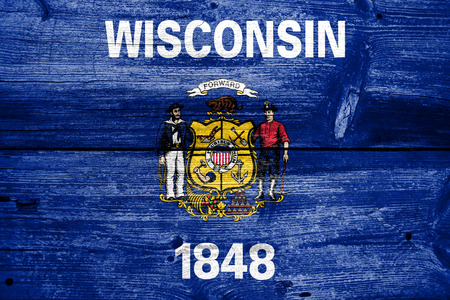 wisconsin flag: Wisconsin State Flag painted on old wood plank texture