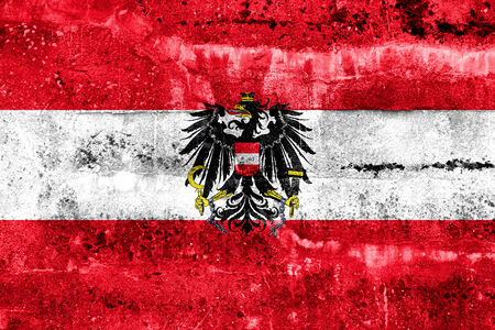 disintegrate: Austria Flag painted on grunge wall