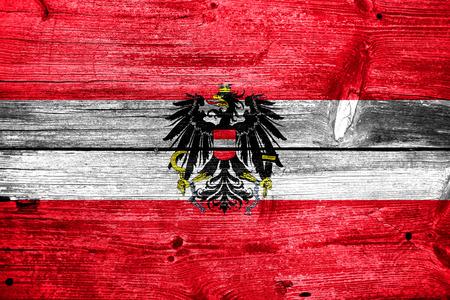 Austria Flag painted on old wood plank texture