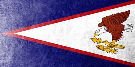 American Samoa Flag painted on leather texture photo