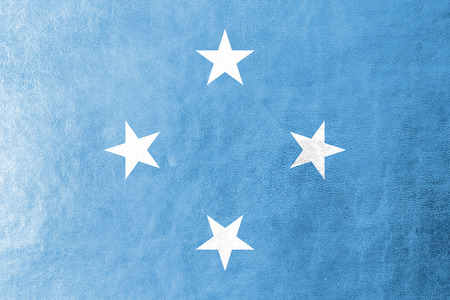 micronesia: Micronesia Flag painted on leather texture