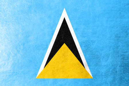 lucia: Saint Lucia Flag painted on leather texture Stock Photo