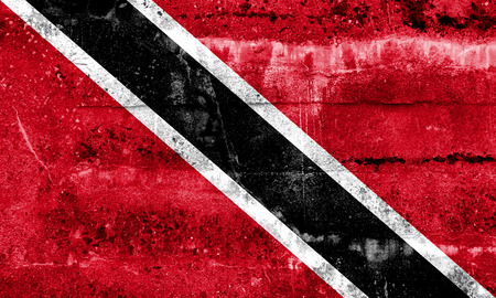 national flag trinidad and tobago: Trinidad and Tobago Flag painted on grunge wall Stock Photo