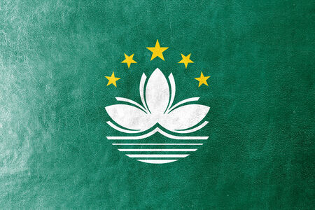Macau Flag painted on leather texture photo