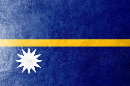 Nauru Flag painted on leather texture photo