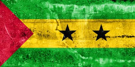 tome: Sao Tome and Principe Flag painted on grunge wall Stock Photo