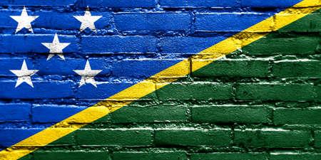 solomon: Solomon Islands Flag painted on brick wall