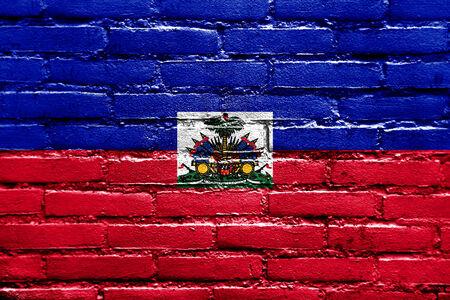 Haiti Flag painted on brick wall photo