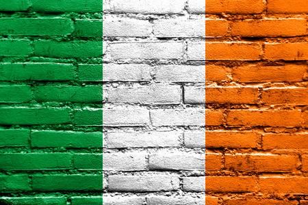 Ireland Flag painted on brick wall Stock Photo