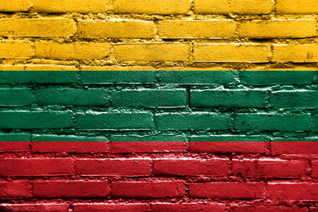 Lithuania Flag painted on brick wall photo