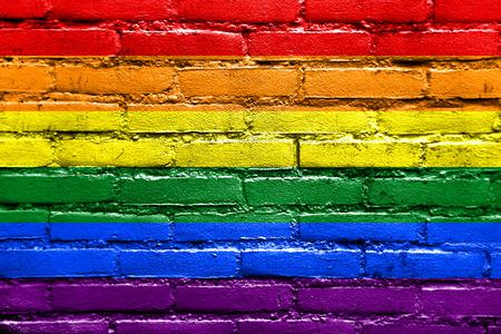 Rainbow Flag painted on brick wall