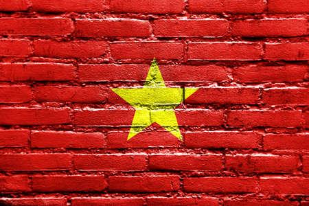Vietnam Flag painted on brick wall photo