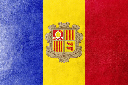 identidad cultural: Bandera Andorra pintada en textura de cuero Foto de archivo
