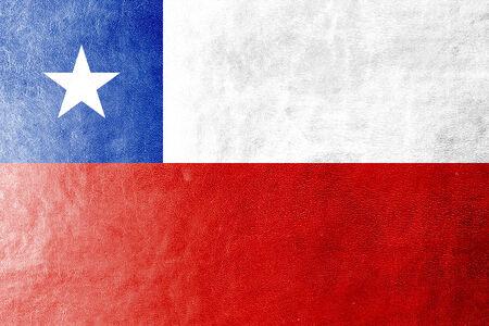 bandera chile: Bandera de Chile pintada en textura de cuero