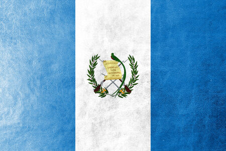 Guatemala Flag painted on leather texture photo