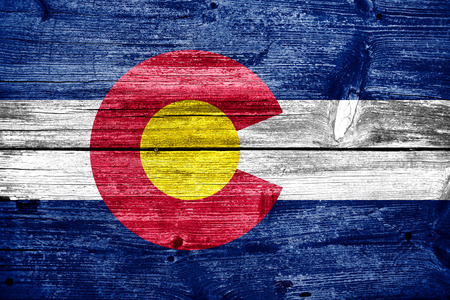 colorado flag: Colorado State Flag painted on old wood plank texture