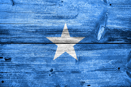 Somalia Flag painted on old wood plank texture