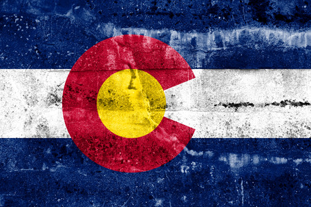 Colorado State Flag painted on grunge wall