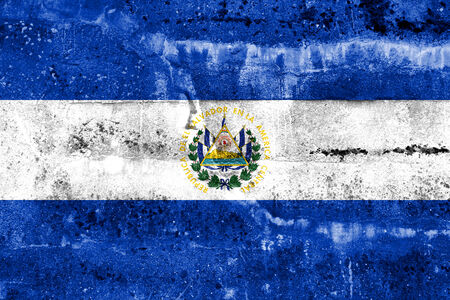 El Salvador Flag painted on grunge wall photo