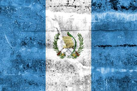 bandera de guatemala: Bandera de Guatemala pintada en la pared del grunge