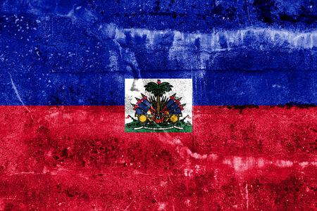 Haiti Flag painted on grunge wall photo