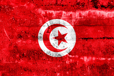 Tunisia Flag painted on grunge wall photo
