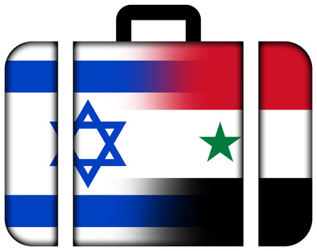Suitcase with Israel and Syria Flag photo