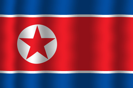 north korea: Waving North Korea Flag