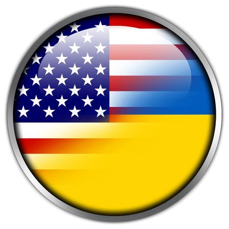 Ukraine and USA Flag glossy button photo