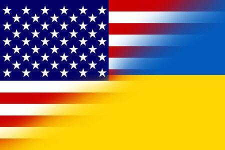 unification: Ukraine and USA Flag Stock Photo