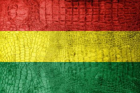 bandera de bolivia: Bolivia bandera pintada en textura de cocodrilo de lujo