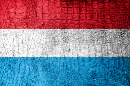Luxembourg Flag painted on luxury crocodile texture photo