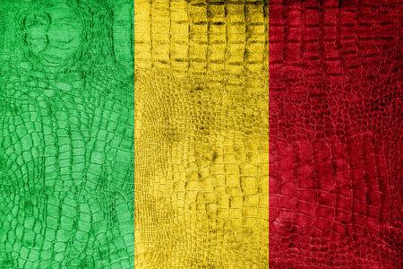 Mali Flag painted on luxury crocodile texture photo