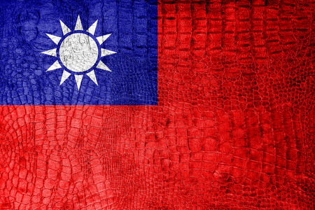 china flag: Taiwan Flag painted on luxury crocodile texture