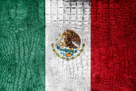Mexico Flag painted on luxury crocodile texture photo