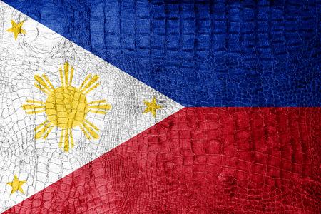 Philippines Flag painted on luxury crocodile texture photo