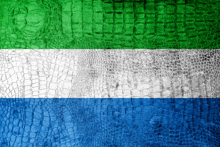 Sierra Leone Flag painted on luxury crocodile texture photo