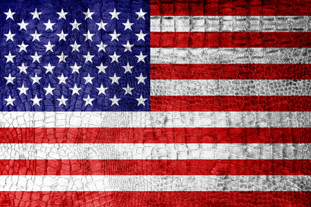 USA Flag painted on luxury crocodile texture photo
