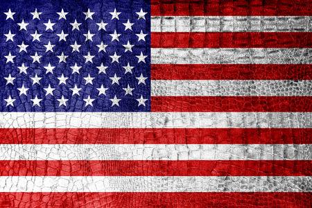 antiqued: USA Flag painted on luxury crocodile texture Stock Photo